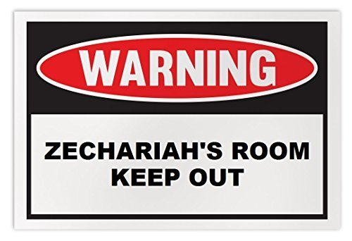 Personalized Novelty Warning Sign: Zechariah's Room Keep Out - Boys, Girls, Kids