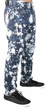 Versace Jeans Blue Bleached Denim White Paint Orange Speckle XXX Pants NWT image 2