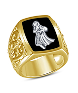 925 Silver 14K Gold Plated Round Cut White Cubic Zirconia Aquarius Zodiac Ring - $119.53