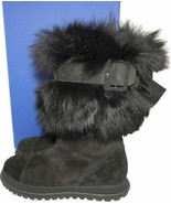 $655 Stuart Weitzman Shearling Fur Lined Boots Tall Black Suede Booties 7.5 - $239.91