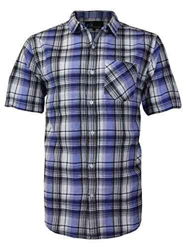 vkwear Men's Plaid Checkered Button Down Casual Short Sleeve Dress Shirt (2XL, R