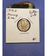 1919-D Mercury Silver Dime!!! Better Date!!! Nice Coin!!! 90% Silver!!! - $8.64