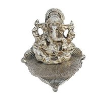 BrightJet Silver Lord Ganesha Statue on Leaf (LxWxH - 4INx4INx3.5IN) - $20.05 CAD