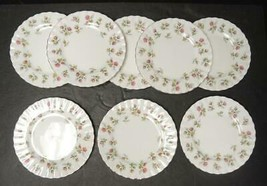 Eight Royal Albert Winsome Salad Plates * White Background - $37.99