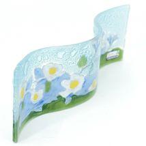 Fused Art Glass Blue Columbine Flower Floral Wavy Sun Catcher Handmade Ecuador image 3