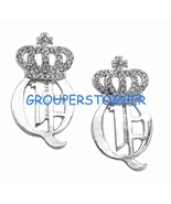 "Queen Earrings Iced Out Crowned New ""Q""  Stud Post Style - $11.99"