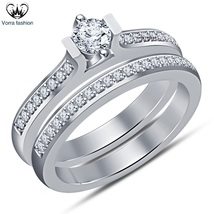 Round Cut White Diamond Bridal Engagement Ring Set In 14k Gold Plated 92... - $89.41