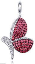 Cool Red Cubic Zirconia With Pave Setting Butterfly Pendant Sterling Sil... - $55.57
