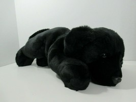 "Black Lab Retriever Plush Large Bean Bag Puppy Dog 14"" brown eyes vinyl ... - $19.79"