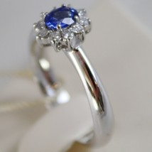 18K WHITE GOLD FLOWER RING, DIAMOND & OVAL BLUE SAPPHIRE, 0.65 MADE IN ITALY image 2