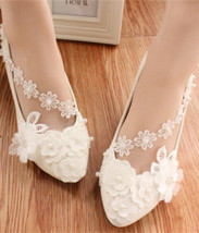 Women Wedding Shoes,Lace Ankle Straps Ivory White Bridal Flats Shoe US 8,9,10,11 - $38.00