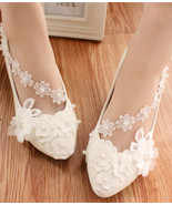 Women Wedding Shoes,Lace Ankle Straps Ivory White Bridal Flats Shoe US 8... - £30.95 GBP