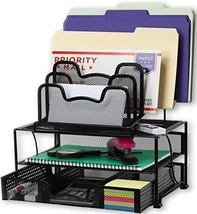 SimpleHouseware Mesh Desk Organizer with Sliding Drawer, Double Tray and... - $33.86