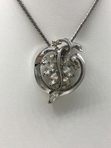 Vintage Early Trifari Rhinestone Pendant Necklace Silvertone Pat pend Mark - $67.63