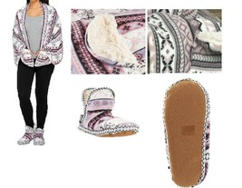 MUK LUKS Fleece and Faux Fur Booties and Wrap Gift Set LARGE - $8.99