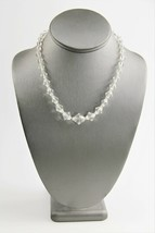 """17"""" ESTATE VINTAGE Jewelry CLEAR GLASS GRADUATED BICONE BEAD NECKLACE  - $10.00"""