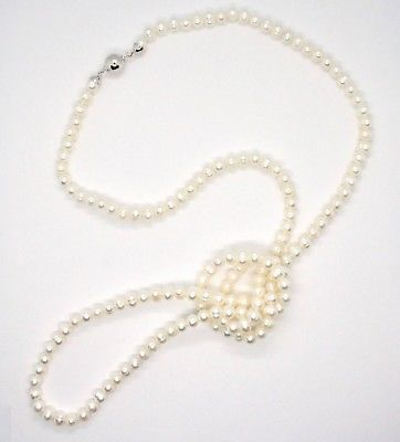 COLLANA LUNGA 110 CM IN ORO BIANCO 18KT PERLE BIANCHE FRESHWATER MADE IN ITALY