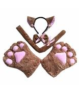 Brown Cat Cosplay Costume Set Kitten Tail Cat Ears Headband Collar Cat P... - $30.89