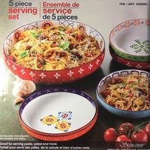 5Pc Stoneware Serving Bowl Set Hand Painted Pasta Salad Desserts Dishwas... - $97.97