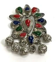 Vintage Brooch Dangler Festive Tribal Colorful silvertone Metal boho Pin - $8.90