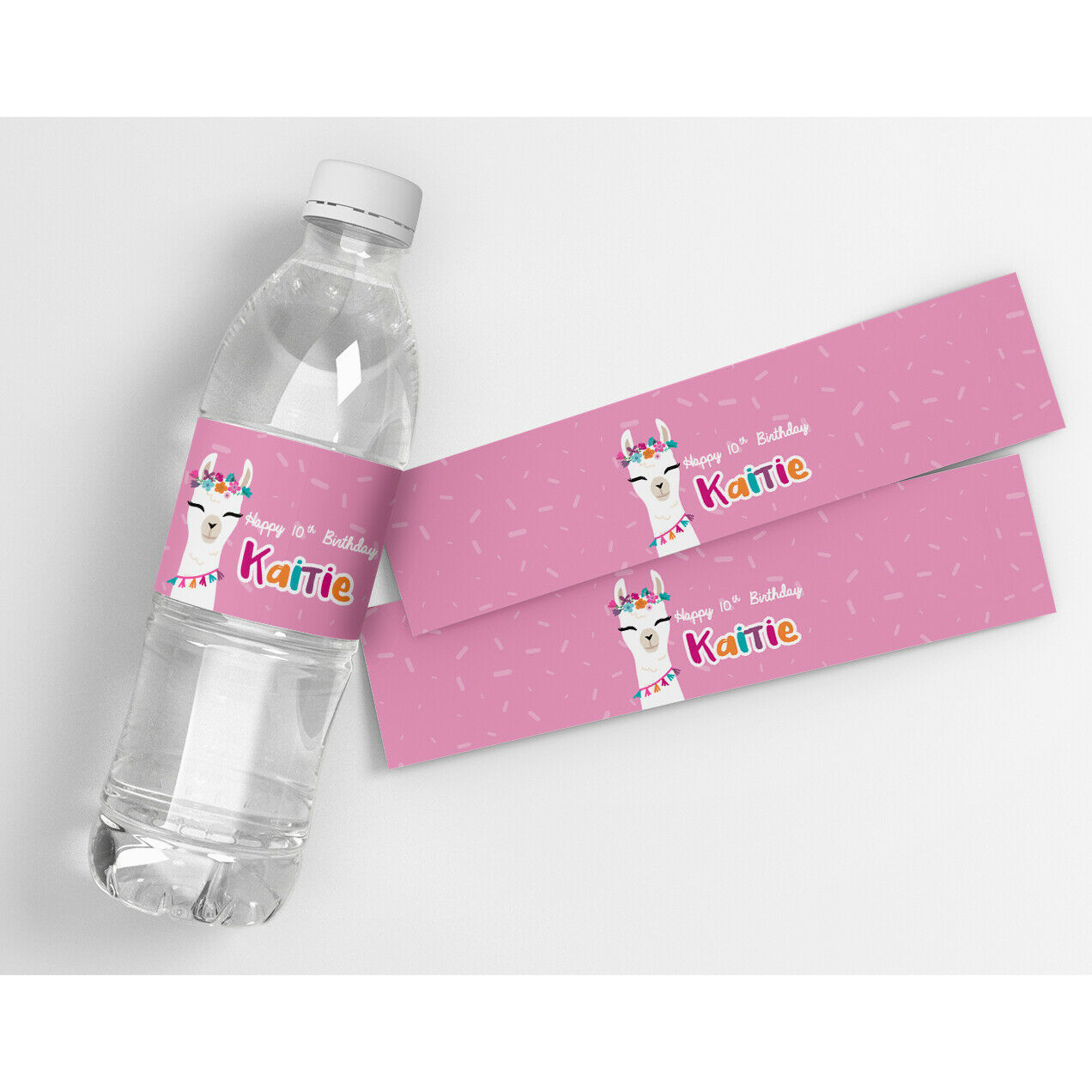 Pink Llama Kids Birthday Decor Personalized Water Bottle Labels