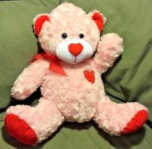 "Medium 15"" Seated Soft Pink & Red lavender eyes Plush Smiling Heart Bear... - $12.99"