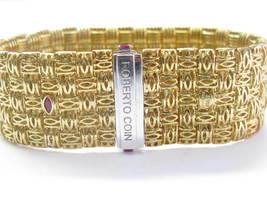 Roberto Coin 18Kt 5-Row Yellow Gold Appassionata Diamond Bracelet .39Ct image 4