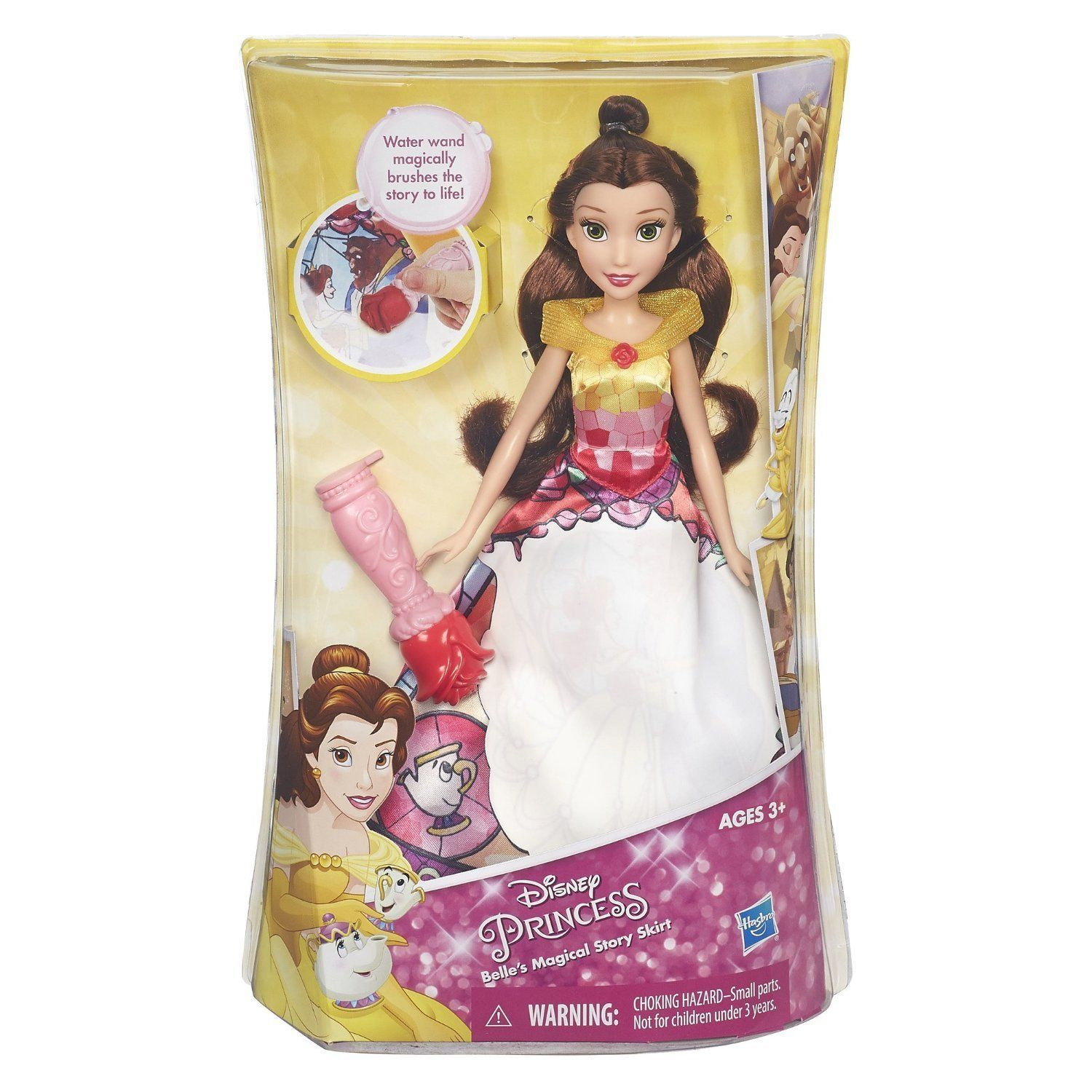 Image 2 of Disney Princess Belle's Magical Story Skirt Doll in Fuchsia/Yellow by Hasbro