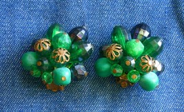 Elegant Shades of Green Acrylic Gold-tone Clip Earrings 1960s vintage 1 ... - $12.30