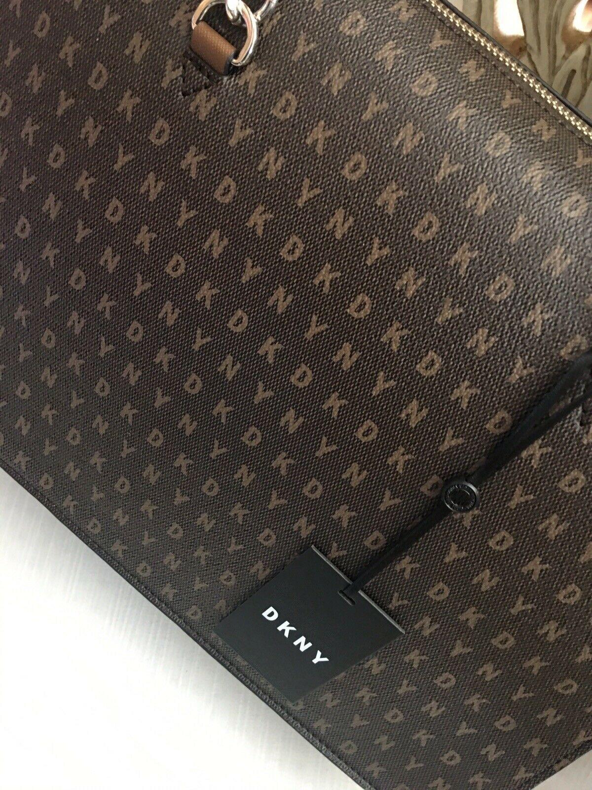 DKNY BRYANT Signature Logo TOP ZIP TOTE Handbag Brown R74A4009 $248 NEW
