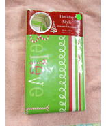 "Festive Christmas Border Striped Tablecloth 52"" x 70"" Holiday Style NIP - $10.88"