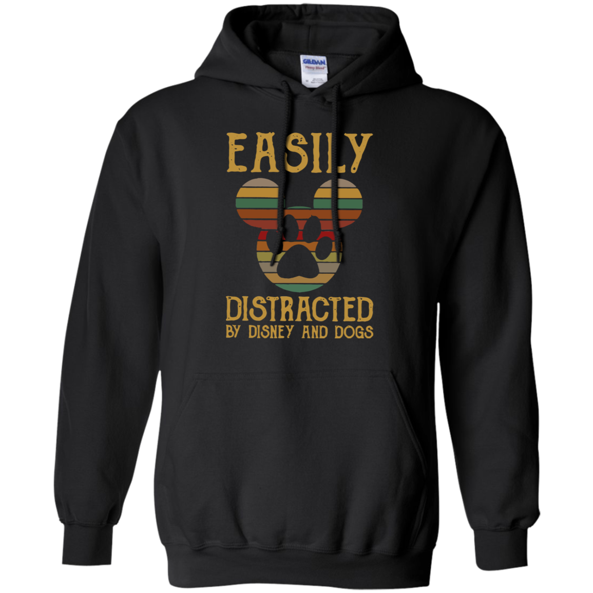 Easily Distracted By Disney And Dogs G185 Black Hoodie 8 oz
