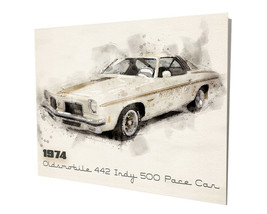 1974 Oldsmobile 442 Indy 500 Pace Car Muscle Car Design 16x20 Aluminum Wall Art - $59.35