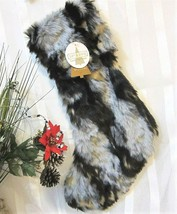 "Luxury Shaggy Faux Fur Christmas Stocking Brown Gray Gold 22"" by 34th & ... - $29.69"