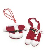 Set Christmas Decoration Mr Mrs Claus Santa Pants Knife Fork Bags Cutler... - $5.34