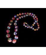 Vintage Millefiori Colorful Murano Glass Floral Beaded Gold Tone Necklac... - $314.99