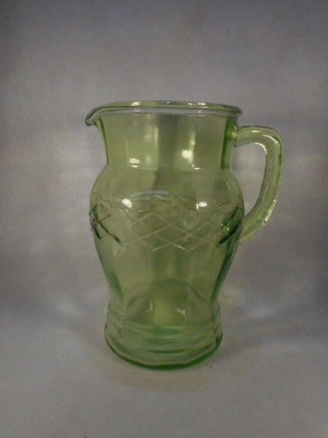 "Vintage Green Depression Glass 8 1/4"" Water Pitcher"