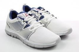 Mens Reebok Zquick Dash Sneakers - White/Porcelain/Steel/Batik Blue Size 7 - $69.99