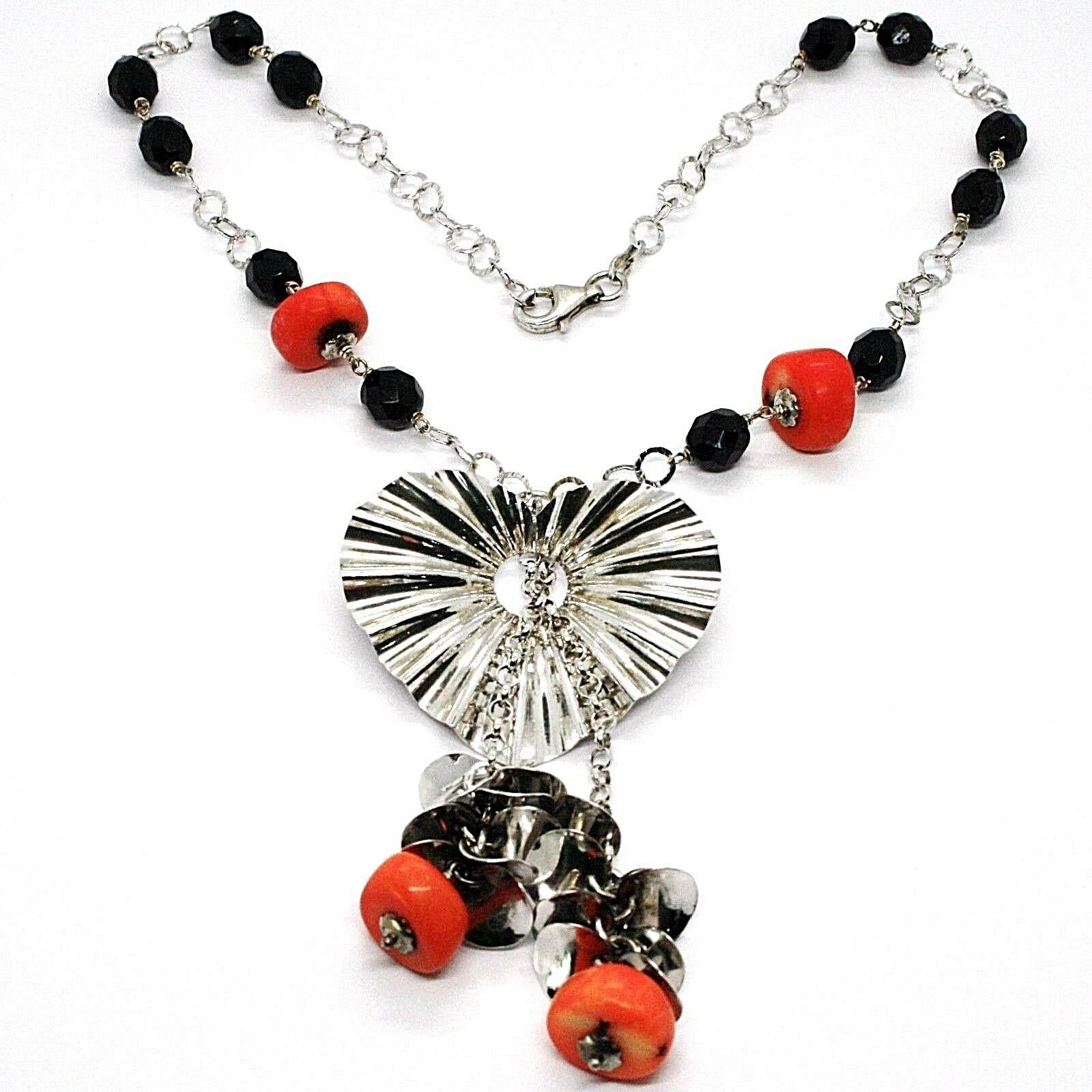 Necklace Silver 925, Heart Wavy, Cascade of Petals, Bunch, Coral