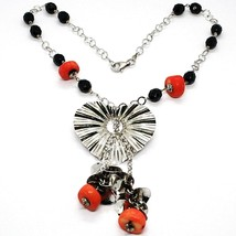 Necklace Silver 925, Heart Wavy, Cascade of Petals, Bunch, Coral image 1