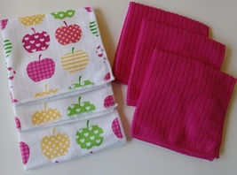 "Apple Heart Microfiber Towels 6-pack Dishcloths 12""x12"" Pink Dish Cloths Apples - $12.99"