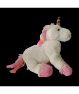 Toys R Us Unicorn Plush White Rainbow Star Pink Ribbons Mane Stuffed Ani... - $21.78