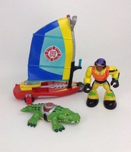LOT Fisher Price Rescue Heroes WindSurfing Water Vehicle Figure & Crocodile - $27.67