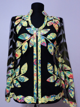 V Neck Flower Pattern 1 Yellow Genuine Leather Leaf Jacket Womens All Si... - $115.00+