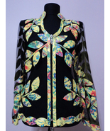 V Neck Flower Pattern 1 Yellow Genuine Leather Leaf Jacket Womens All Si... - $150.00