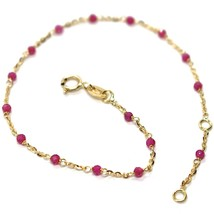 18k yellow gold bracelet, 750 cubic zirconia red, faceted spheres, rolo - $164.13