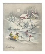 VINTAGE 1947 MERRY CHRISTMAS GREETING CARD SNOW ICE SKATING & OHIO POSTA... - $3.99