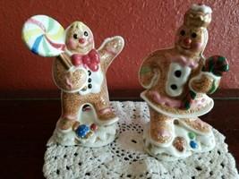 Fitz And Floyd Candy Lane Gingerbread Boy/Girl Salt & Pepper Shakers -Vi... - $16.78