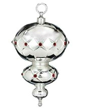 Waterford Lismore Spire Ornament 2012 Silverplate with Red Crystals #158... - $48.90