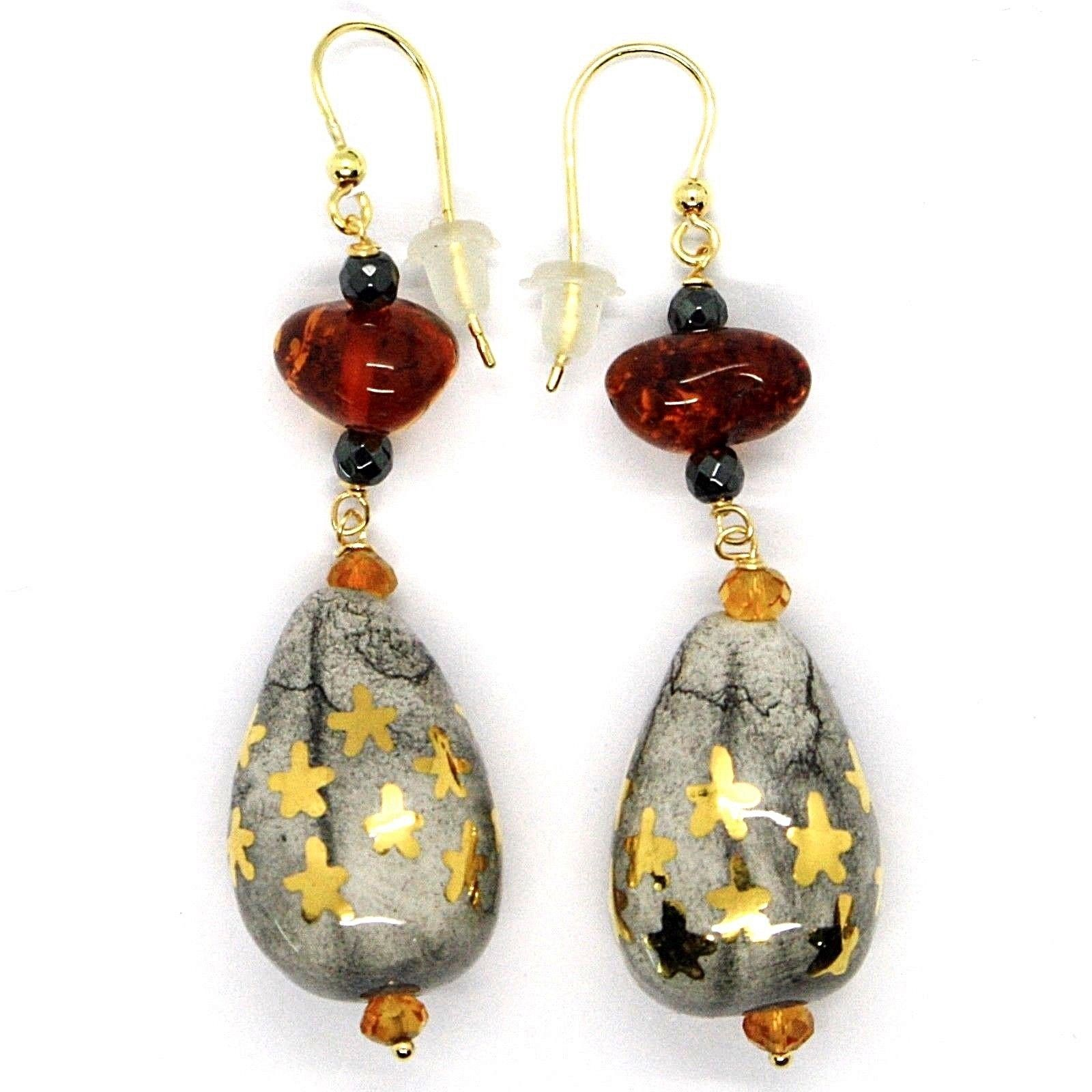 18K YELLOW GOLD EARRINGS AMBER, CITRINE POTTERY DROPS HAND PAINTED IN ITALY STAR